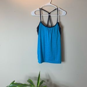 Athleta Turquoise and Navy Strappy Active Tank